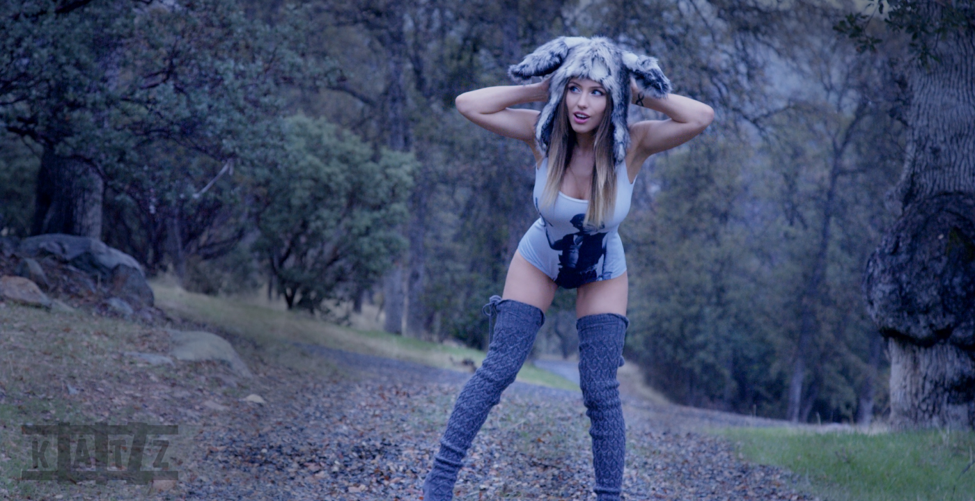 Liz Katz is Jack Rabbit Slims in her Black Milk Han Solo swim suit while wearing her fluffy Jack rabbit hat