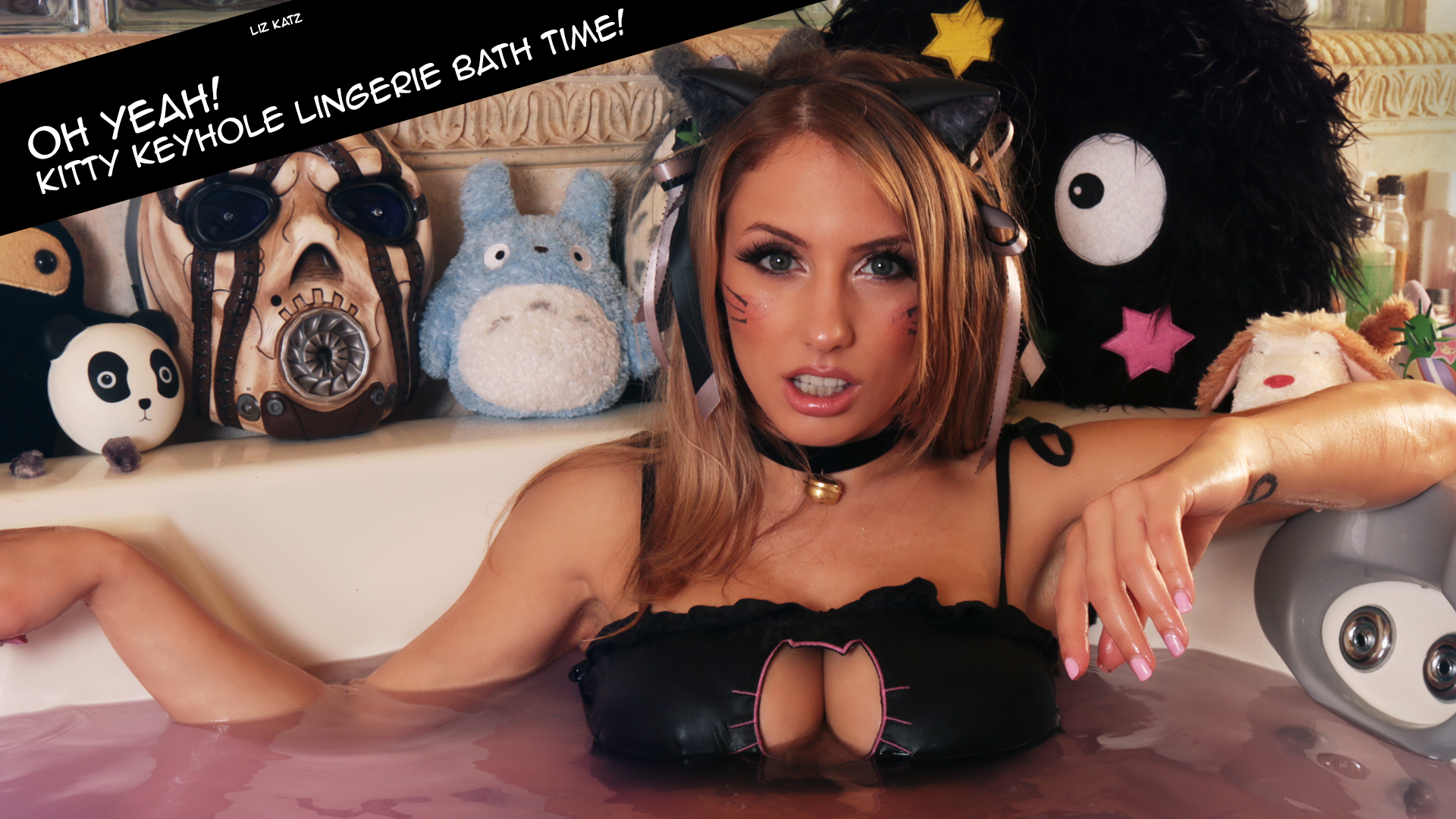Liz Katz in here kitty keyhole bra top