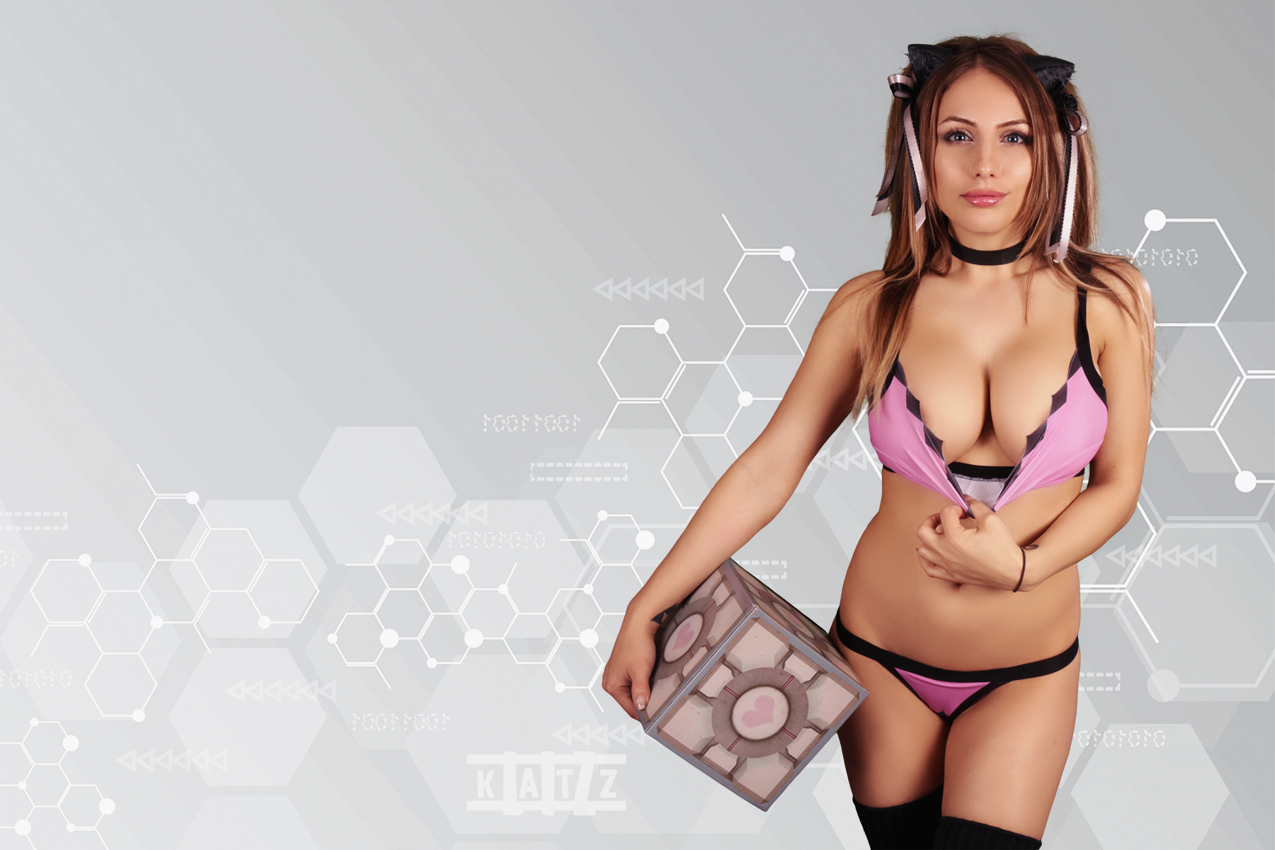 Naked girl companion cube panties consider, that